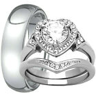 His Titanium & Hers Stainless Steel Halo Engagement Ring Match Band Wedding Set