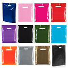 100 Coloured Plastic Bags Strong Patch Handle Boutique Gift Shop Retail Carrier