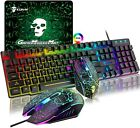 Gaming Keyboard and Mouse Sets RGB Backlit Ergonomic Usb Mechanical Feel For PS4