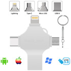 4in 1 USB 3.0 Flash Drive 16GB 64GB 128GB OTG Memory Stick For iPhone Android PC
