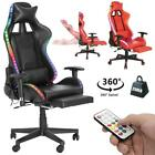Gaming Chair Recliner Racing Chair w/RGB LED Lights  Massage Lumbar Support