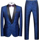 MOGU Mens 2 Piece Suit Slim Fit Shawl Lapel Tuxedo for Daily Business Wedding Pa
