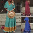 Women Bohemia Summer Beach Long Shirt Dress Button Down Kaftan Maxi Sundress NEW