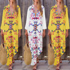 ZANZEA Women Long Sleeve V-Neck Low Cut Kaftan Caftan Oversized Maxi Shirt Dress