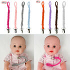 4 Unisex Baby Pacifier Cotton Hemp Rope Chain Clips Stainless Steel Clamps Strap