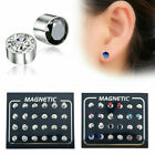 12pair /set Magnetic Crystal Ear Stud Earrings Clip On Non Piercing Jewelry Gift