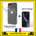PROTECTION VERRE TREMPE + COQUE ANTICHOC IPHONE 5/6/7/8/X/XR/XS MAX/11 PRO/SE