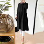 Women Muslim Kaftan Tiered Long Sleeve Plain Oversized Loose Maxi Shirt Dress US