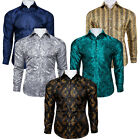DiBanGu Men's Paisley Shirts Long Sleeve Slim Fit Button Down Casual Formal