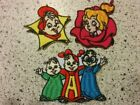 """Classic Alvin Simon Theodore 3"""" Embroidered Patches Iron on or Sew On CHIPMUNKS"""