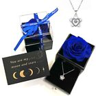 Preserved Real Rose With Sterling Silver Necklace Graduation Gift Birthday Gift