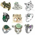 Cute Frog Animal Ring Women 925 Silver Retro Personality Punk Jewelry Size 6-10