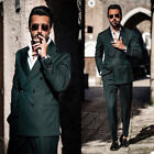 Green Men Suits Double Breasted Coat Vest Pants Sets Tailored Work Groom Tuxedo