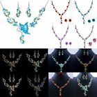 Wedding/bridal Butterfly Flower Crystal Necklace Earrings Set Party Jewelry Gift