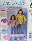 McCalls 7708 Girls 3-14 TOPS Learn to Sew Blouse Shirt EASY Beginner Pattern UNC