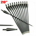 """12Pcs 20 inch Crossbow Bolts Carbon Arrow For Hunt Target OD 8.8mm With 4"""" vane"""