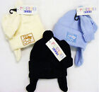 Baby Teddy Earflap Hat & Matching Mittens Blue or Cream