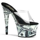 "Sexy 7"" Stiletto Heel Money Print Platform Slide Shoes * Motif-701MO"