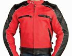 RED LEATHER MOTORCYCLE BIKER JACKET SINGLE PANEL BACK