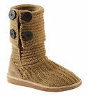 Womens Chunky Knitted Button Boots Ladies Comfy Cosy Casual Slip On Sizes UK 3-8
