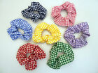 Girls Gingham Hair Scrunchie / Bobble Red, Blue,Yellow, Pink, Purple, Green,Navy