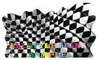 CHEQUERED FLAPPING FLAG DECAL STICKER VARIOUS SIZES