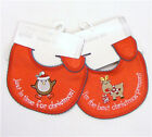 Christmas Baby Velcro Embroidered Bib Choose Robin or Reindeer All Size