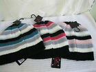 LADIES WARM WINTER BEANIE HAT PINK, PURPLE OR GREEN STRIPES 75B018