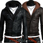 Men's Slim Top Designed Sexy PU Leather Hoody Jacket Coat H511 2color 4 size