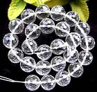 """6mm 8mm 10mm 12mm 14mm 15mm 17mm clear quartz round 128 faceted Beads 15"""""""