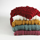 """Luxury Fringed Ruffle Design Throw Blanket 50""""X60"""" - 5 Colors Avail. New"""