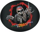 OVAL CHROME SKULL DECAL GRAPHIC STICKER VARIOUS SIZES