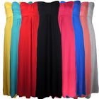 LADIES BOOBTUBE STRAPLESS MAXI BANDEAU DRESS WOMENS DRESS SIZE 8-14 8 COLOURS