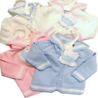 Soft Fine Knit Hooded Cardigan 0-3 or 3-6 or 6-9 Months Pink, Blue or White