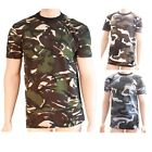 Mens Army Colour Color Camo Combat Style Camouflage Short Sleeve T Shirt Top