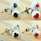 UV 6mm Poker Card Ace Round Ball Beads Stainless Steel Stud Pin Ear Earring