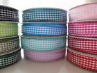 Gingham Ribbon 10mm Wide 5 METRE Reel /  5m Roll Many Colours