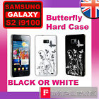 Samsung Galaxy S2 i9100 Black or White Butterfly IMD Hard Case Holder Cover