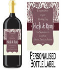 PERSONALISED BOTTLE LABEL WEDDING DAY GIFT FAVOURS WINE, SPIRIT OR CHAMP WDBL 10