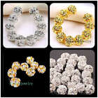 Plated Gold/Silver Bayberry Ball Grade A Rhinestone Crystal Spacer Bead 20Pcs