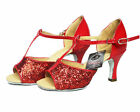 Women's PU leather red  sequin glitter latin salsa dance shoes ballroom shoes
