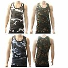 24 x Army Camo Combat Muscle Gym Top Sleeveless Singlenet Cotton Vest JOB LOT