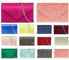 SATIN SILK LACE BRIDAL PARTY EVENING WEDDING HOLDAY ENVELOPE CLUTCH HANDBAG