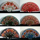 "Spanish flamenco hand painted wooden folding fan direct from Spain 9"" x 16"""