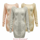 NEW LADIES SHEER WOOL KNITTED LONG SLEEVE JUMPER DRESS TOP SIZE SM ML 8 10 12 14