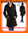 C2 New Womens Brown Belt Coats Long Sleeves Collared Warm Jackets Size 8 10 12