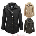 NEW WOMENS LADIES QUILTED PADDED  ZIP UP BUTTON JACKET COAT SIZE 12 TO 22