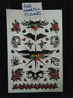 1 x SHEET UNISEX BOYS TEMPORARY TATTOOS CELTIC BLACK RED ARTY FLOWERS & HEARTS