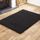SMALL - EXTRA LARGE THICK 5CM HIGH PILE BLACK LUXURIOUS NON-SHEDDING SHAGGY RUG