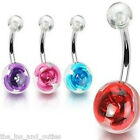 Flower Metal Rose UV Ball Belly Ring Navel Naval Red, Aqua, Pink, Purple